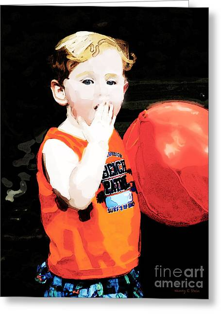 Boy With A Balloon Greeting Card by Nancy E Stein