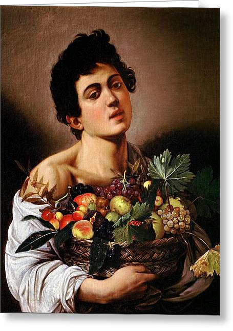 Michelangelo Caravaggio Greeting Cards - Boy with a Basket of Fruit Greeting Card by Caravaggio