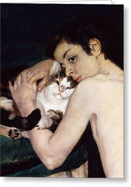 France 1874-1886 Greeting Cards - Boy with a Cat Greeting Card by Pierre-Auguste Renoir
