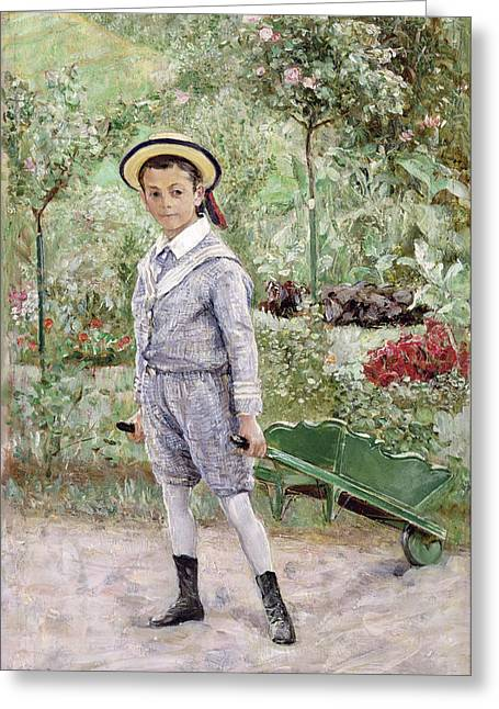 Ernst Greeting Cards - Boy with a Wheelbarrow Greeting Card by Ernst Josephson