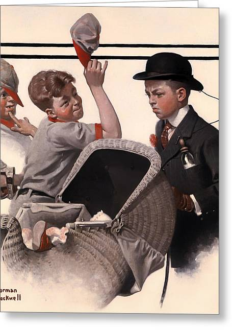 Baseball Paintings Greeting Cards - Boy with Baby Carriage Greeting Card by Norman Rockwell