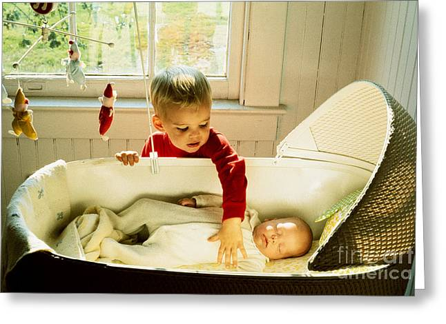 Little Boy Greeting Cards - Boy With Baby Greeting Card by Suzanne Szasz
