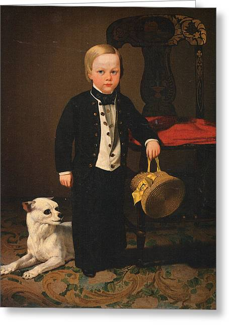 Charles Nahl Greeting Cards - Boy With Dog Greeting Card by Charles C Nahl