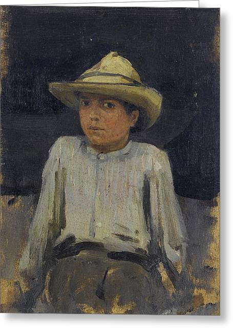 Tuke Greeting Cards - Boy with hat Greeting Card by Henry Scott Tuke