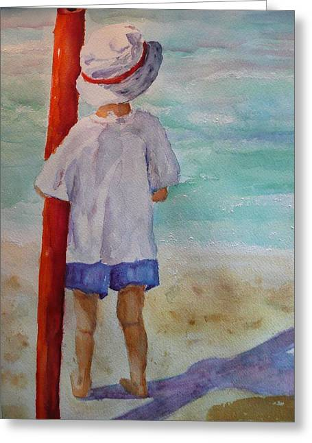 Noodles Paintings Greeting Cards - Boy with noodle Greeting Card by Barbara Connolly