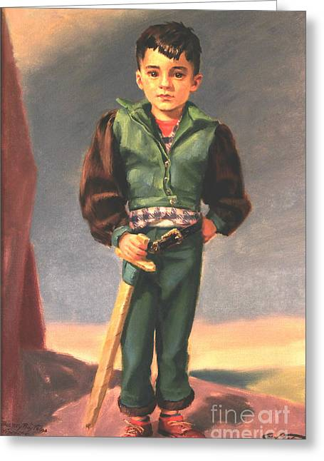 1950s Portraits Paintings Greeting Cards - Boy With Paper Sword Greeting Card by Art By Tolpo Collection