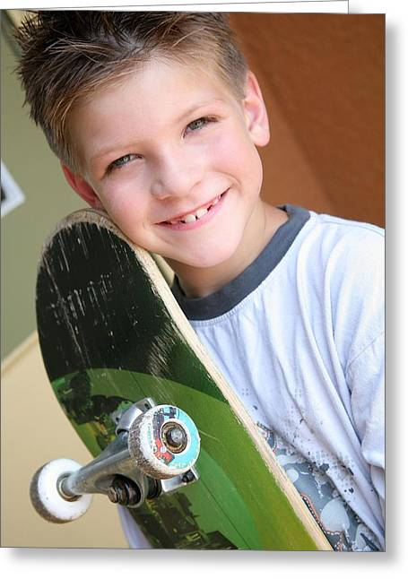 Toothy Smile Greeting Cards - Boy With Skateboard Greeting Card by Colleen Cahill