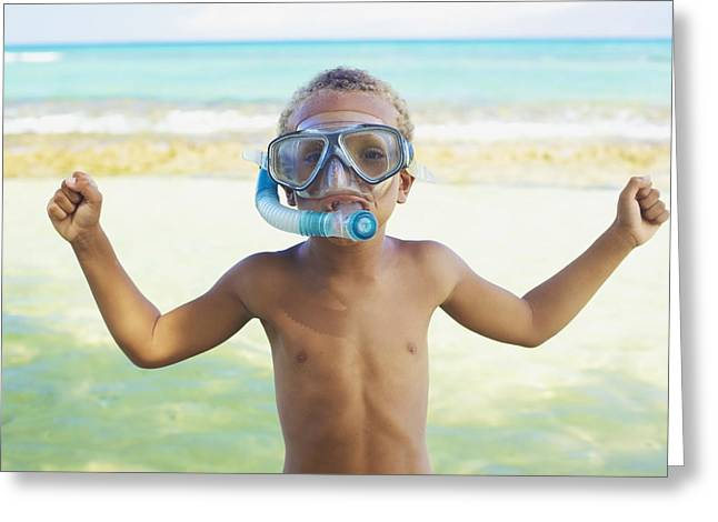 Youthful Photographs Greeting Cards - Boy with Snorkel Greeting Card by Kicka Witte