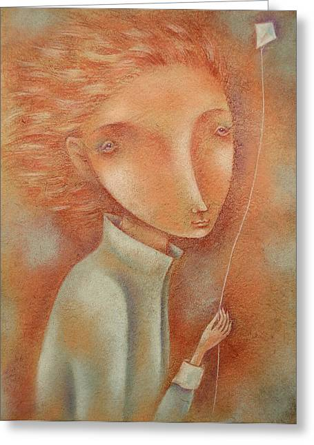 Windy Pastels Greeting Cards - Boy with the Kite Greeting Card by Anna Petrova