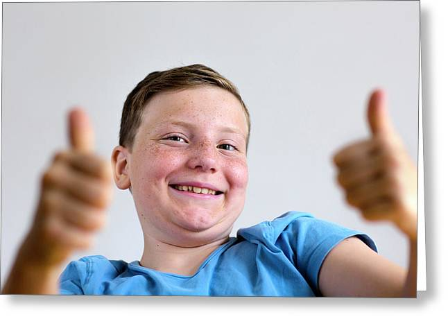 Boy With Thumbs Up Greeting Card by Gombert, Sigrid