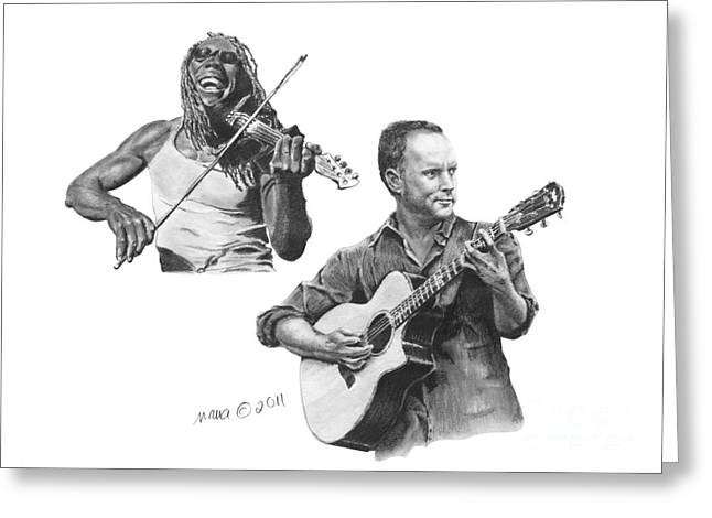 Boyd Tinsley Drawings Greeting Cards - Boyd and Dave Greeting Card by Marianne NANA Betts