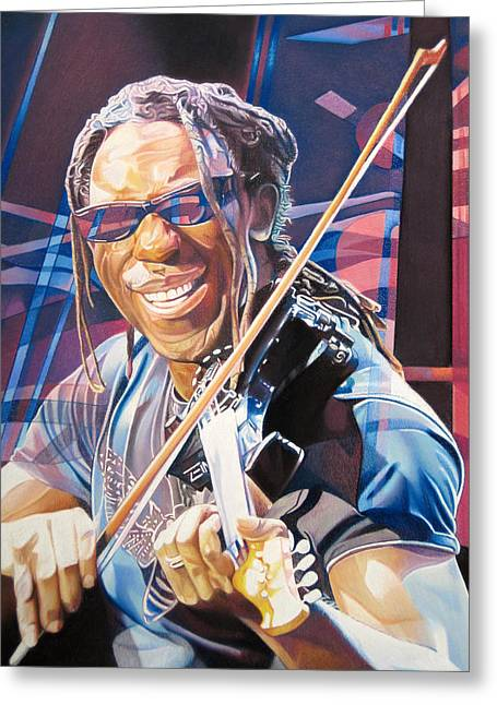 Boyd Tinsley Drawings Greeting Cards - Boyd Tinsley and 2007 Lights Greeting Card by Joshua Morton