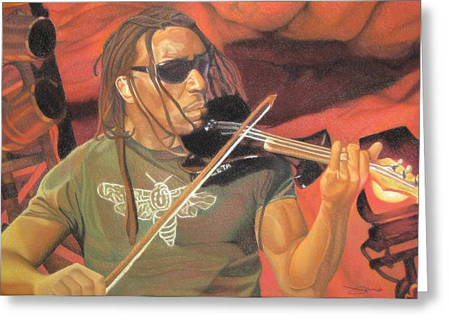 Boyd Tinsley Drawings Greeting Cards - Boyd Tinsley at Red Rocks Greeting Card by Joshua Morton