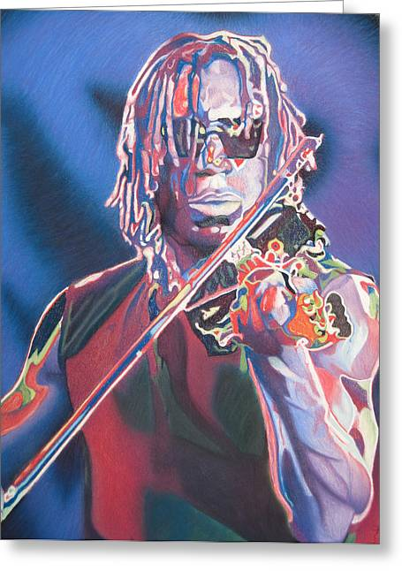 Boyd Tinsley Drawings Greeting Cards - Boyd Tinsley Colorful Full Band Series Greeting Card by Joshua Morton