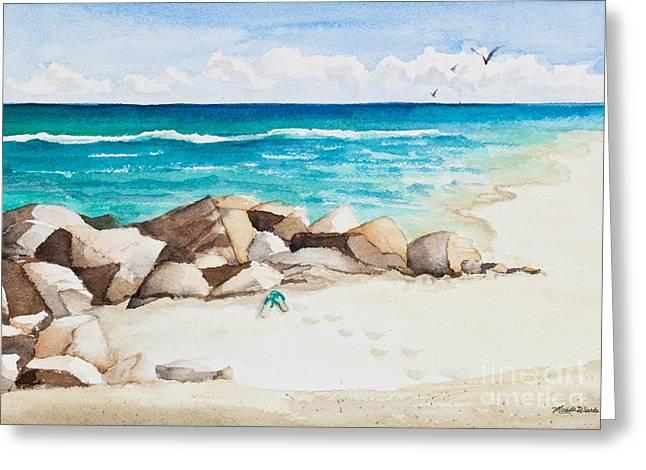 Ocean Scenes Greeting Cards - Boynton Beach Inlet Watercolor Greeting Card by Michelle Wiarda
