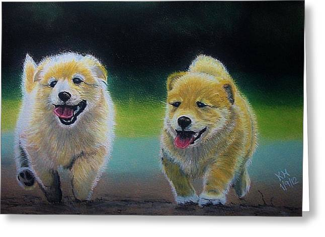 Puppies Pastels Greeting Cards - Boys Are Back In Town Greeting Card by Kevin Hubbard