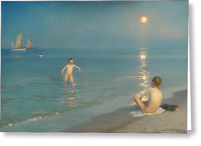 Skagen Greeting Cards - Boys Bathing at Skagen Greeting Card by PS Kroyer