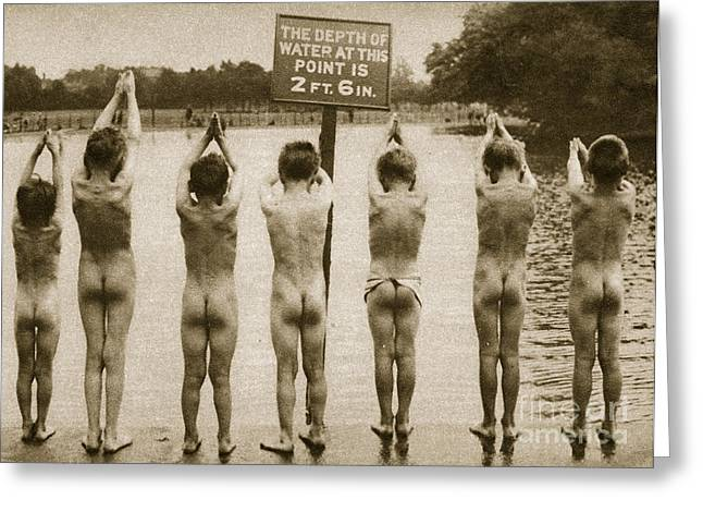 Sea Platform Greeting Cards - Boys Bathing in the Park Clapham Greeting Card by English Photographer