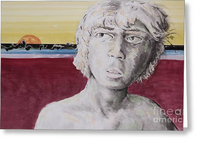 Young Nude Man Mixed Media Greeting Cards - Lake Michigan Greeting Card by Shane Rodarte