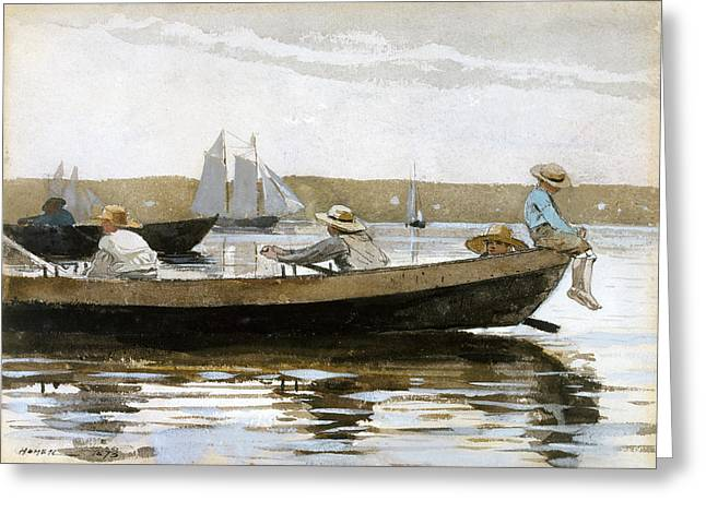 Winslow Homer Drawings Greeting Cards - Boys in a Dory Greeting Card by Winslow Homer