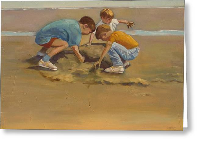 Sand Castles Paintings Greeting Cards - Boys in the Sand Greeting Card by Sue  Darius