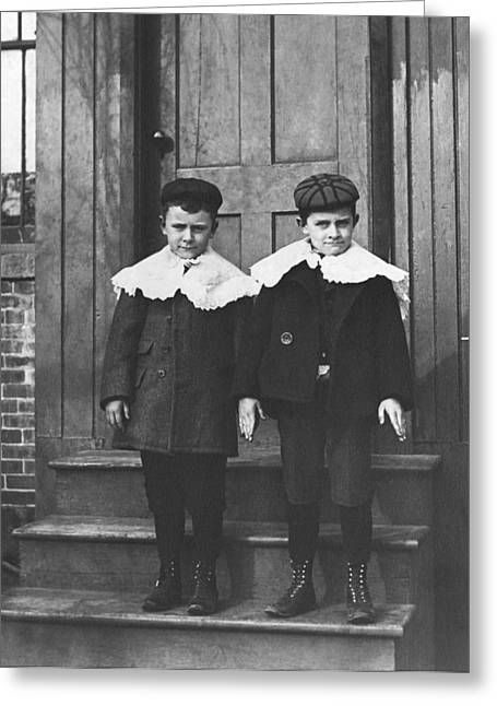 Boys In Their Sunday Best Greeting Card by Underwood Archives