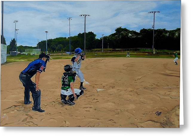 Baseball Paintings Greeting Cards - Boys of summer Greeting Card by Raymond Perez