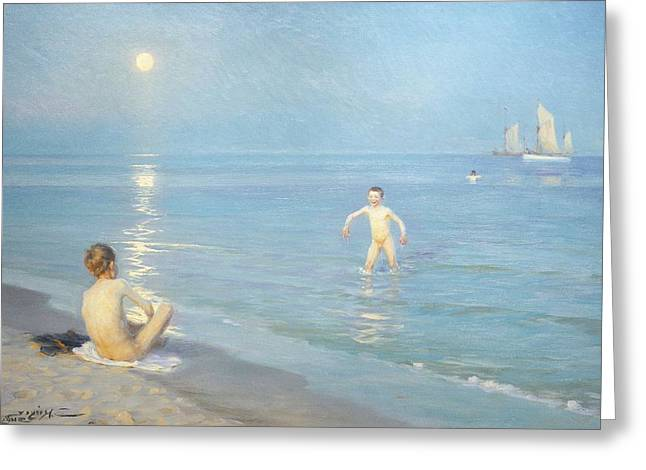 Dipping Greeting Cards - Boys on the Seashore in a Summer Night at Skagen 1899  Greeting Card by Peder Severin Kroyer