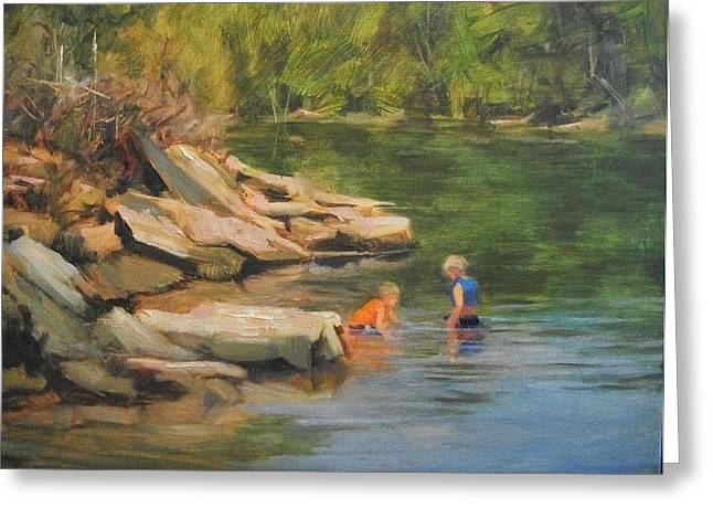 Boys Playing In The Creek Greeting Card by Margaret Aycock