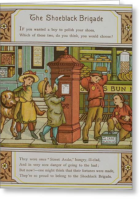 Boys Shining Shoes For Money Greeting Card by British Library