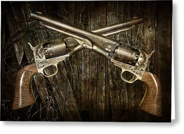 Brace Of Colt Navy Revolvers Greeting Card by Randall Nyhof