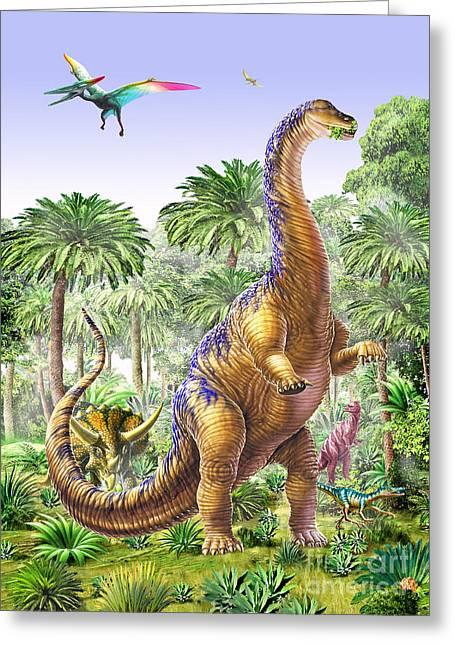 Feeding Digital Greeting Cards - Brachiosaur Greeting Card by Adrian Chesterman