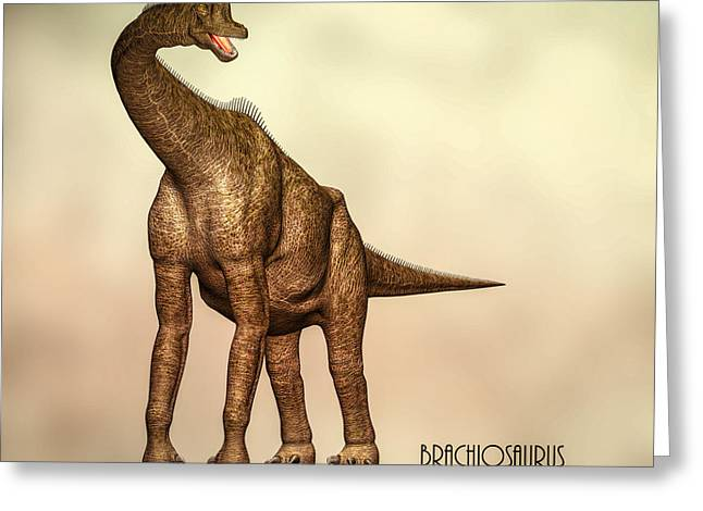Triassic Greeting Cards - Brachiosaurus Dinosaur Greeting Card by Bob Orsillo