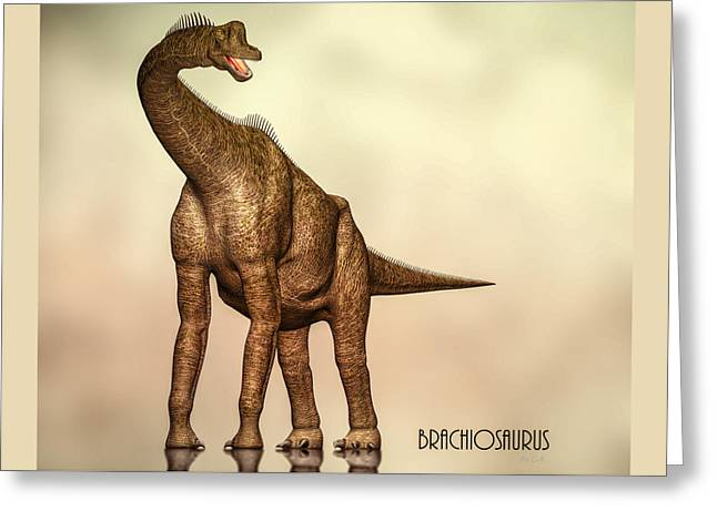 Vertebrate Greeting Cards - Brachiosaurus Dinosaur Greeting Card by Bob Orsillo