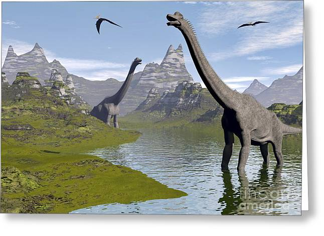 Stream Digital Art Greeting Cards - Brachiosaurus Dinosaurs Walking Greeting Card by Elena Duvernay