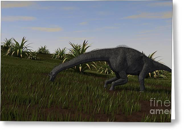 Brachiosaurus Grazing In A Grassy Field Greeting Card by Kostyantyn Ivanyshen