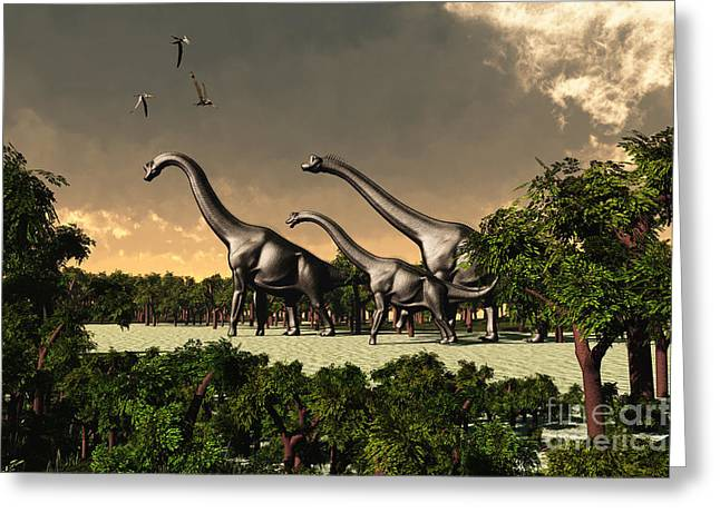 Triassic Greeting Cards - Brachiosaurus Walk Greeting Card by Corey Ford