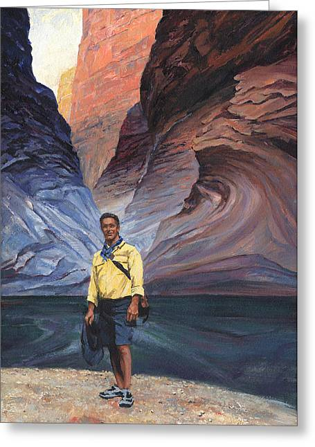 Formation Paintings Greeting Cards - Brad at Supai Formation Greeting Card by Don  Langeneckert