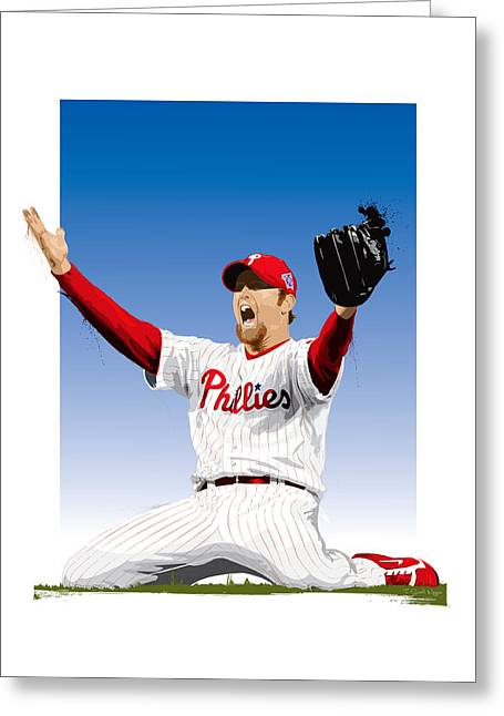 Citizens Bank Greeting Cards - Brad Lidge Champion Greeting Card by Scott Weigner