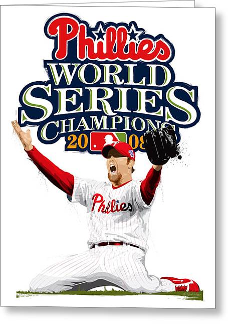 Pitcher Greeting Cards - Brad Lidge WS Champs Logo Greeting Card by Scott Weigner