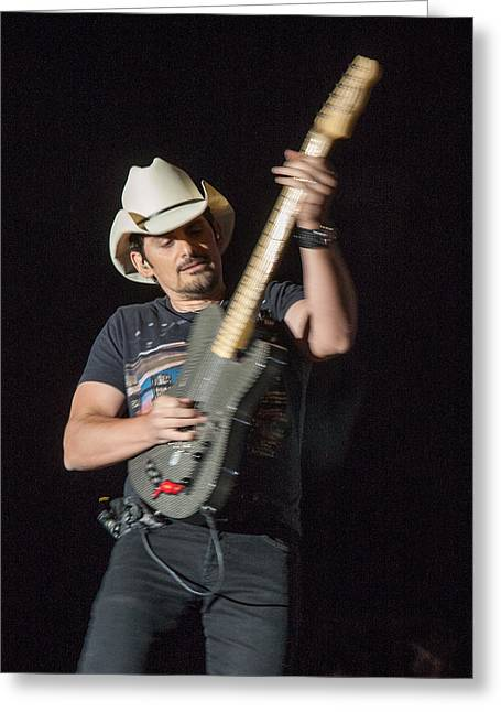 Live Performance Greeting Cards - Brad Paisley 1 Greeting Card by Mike Burgquist