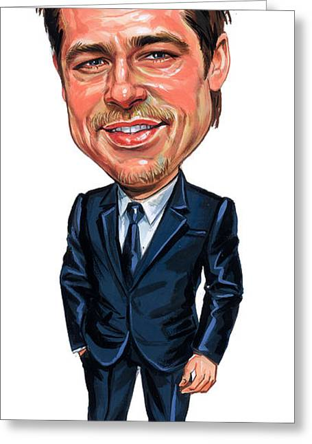 Famous Person Greeting Cards - Brad Pitt Greeting Card by Art
