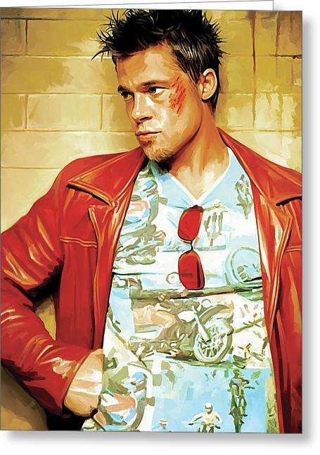 Celebrity Prints Greeting Cards - Brad Pitt Artwork Greeting Card by Sheraz A