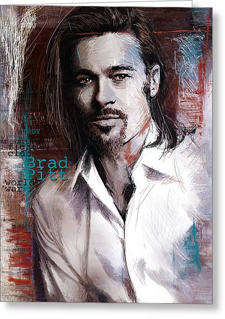 American Celebrities Greeting Cards - Brad Pitt Greeting Card by Corporate Art Task Force