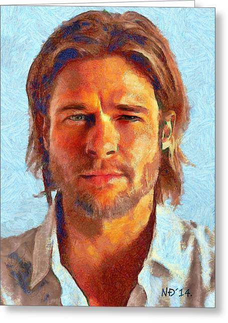 Lucent Dreaming Greeting Cards - Brad Pitt I Greeting Card by Nikola Durdevic