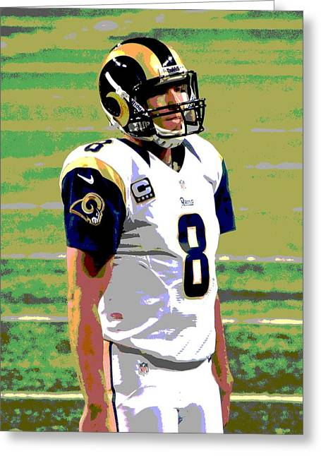 Pro Football Paintings Greeting Cards - Bradford Greeting Card by Deena Stoddard