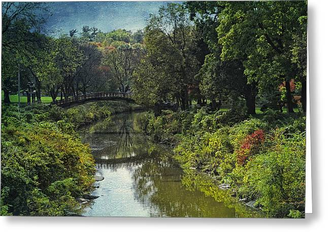 Park Scene Mixed Media Greeting Cards - Bradley Park Japanese Bridge 05 Textured Greeting Card by Thomas Woolworth