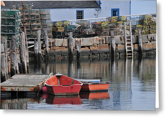 Bradley Wharf Dinghies Greeting Card by Mike Martin