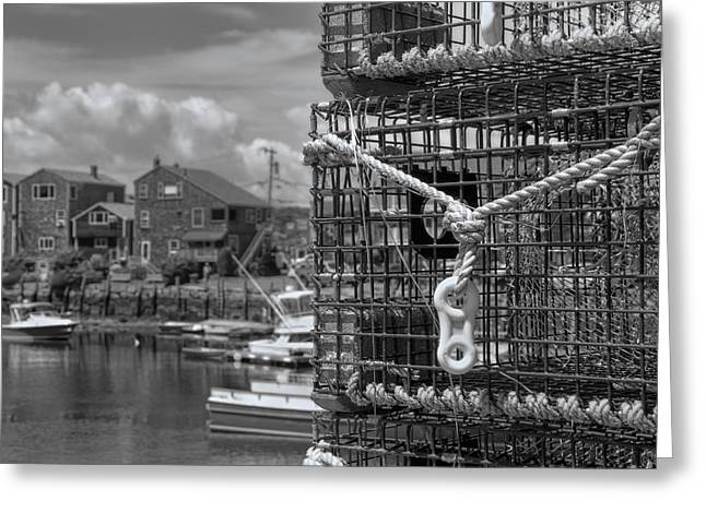 Lobster Shack Greeting Cards - Bradley Wharf in Black and White Greeting Card by Joann Vitali