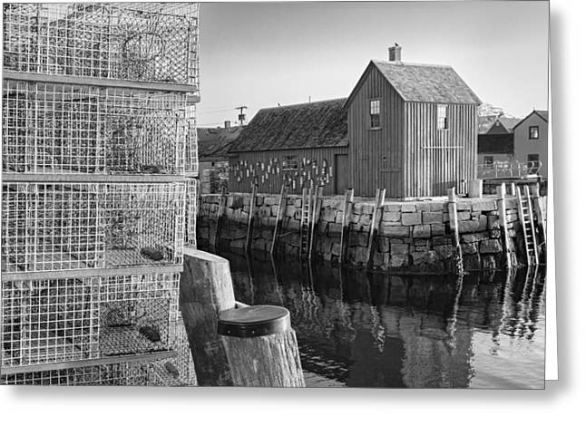 Lobster Shack Greeting Cards - Bradley Wharf Motif #1 BW Greeting Card by Susan Candelario